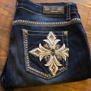 Highly embellished denim jeans